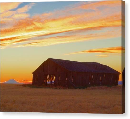Weathered Barn Sunset Canvas Print