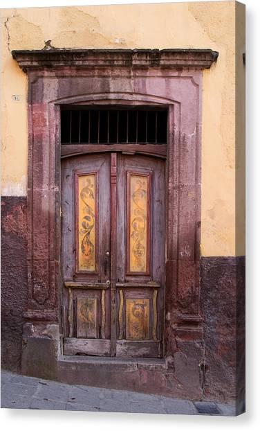 San Miguel De Allende Canvas Print - Weathered Door by Carol Leigh