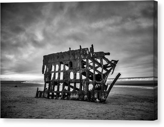 Peter Iredale Canvas Print - Weathered Rusting Shipwreck In Black And White by Garry Gay