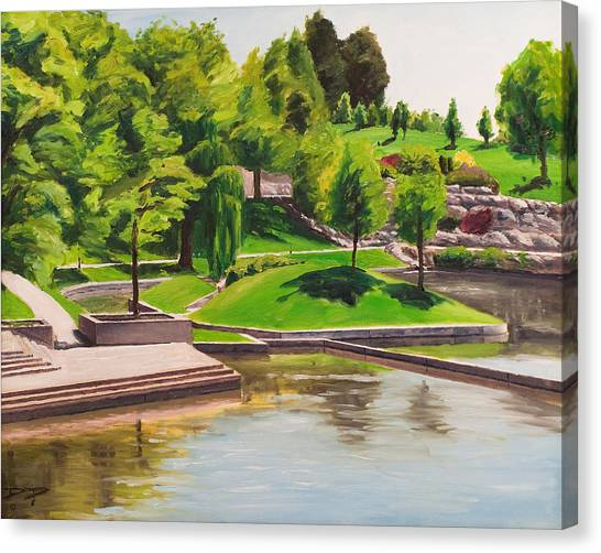 Weber State University Canvas Print - Weber University Reflecting Pond by Dan Price