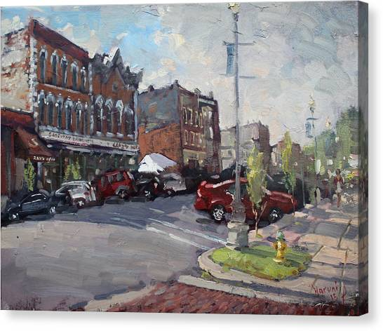 Crazy Canvas Print - Webster Street North Tonawanda by Ylli Haruni