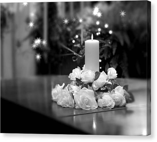 White Church Canvas Print - Wedding Candle by Tom Mc Nemar