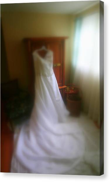 Wedding Dress In Waiting Canvas Print