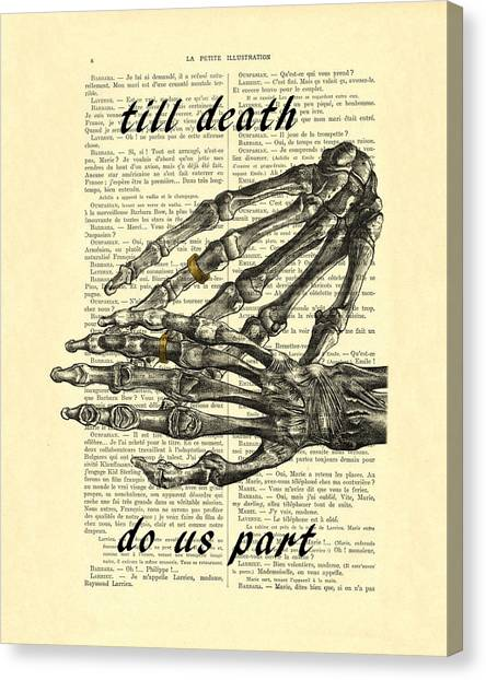 Marriage Canvas Print - Wedding Gift, Till Death Do Us Part by Madame Memento
