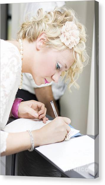 Ballpoint Pens Canvas Print - Wedding Guest Signing Wedding Guestbook by Jorgo Photography - Wall Art Gallery