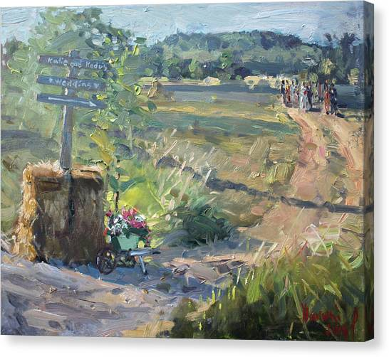Dirt Road Canvas Print - Wedding In The Farm Grorgetown  by Ylli Haruni
