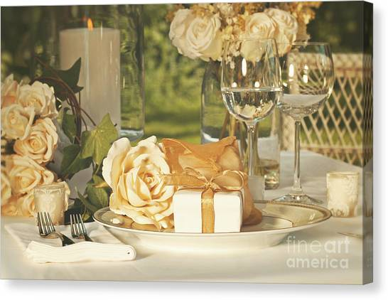 Wedding Bouquet Canvas Print - Wedding Party Favors On Plate At Reception by Sandra Cunningham