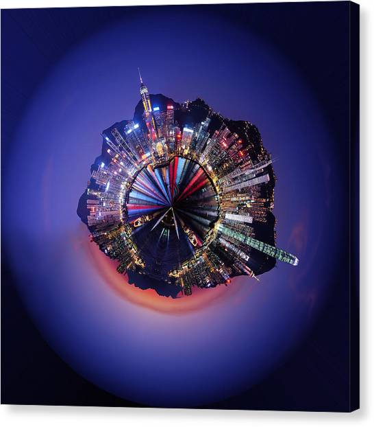 Projection Canvas Print - Wee Hong Kong Planet by Nikki Marie Smith