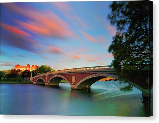 Harvard University Canvas Print - Weeks' Bridge by Rick Berk