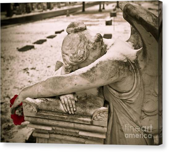 Weeping Angel In Winter Canvas Print by Sonja Quintero