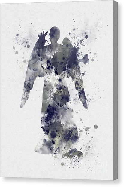 Tardis Canvas Print - Weeping Angel by Rebecca Jenkins
