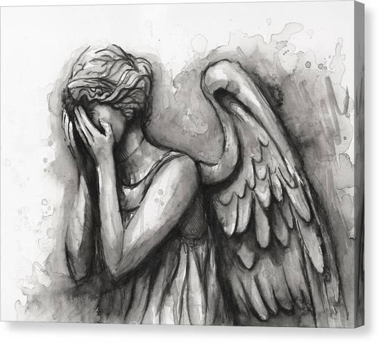 Tardis Canvas Print - Weeping Angel Watercolor by Olga Shvartsur