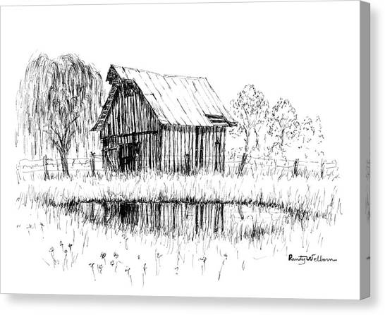 Weeping Willows Canvas Print - Weeping Willow And Barn Two by Randy Welborn