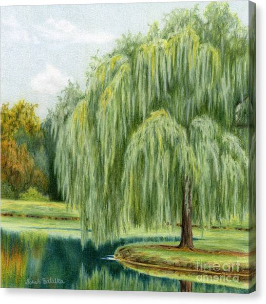 Weeping Willows Canvas Print - Under The Willow Tree by Sarah Batalka