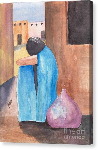 Weeping Woman  Canvas Print by Susan Kubes