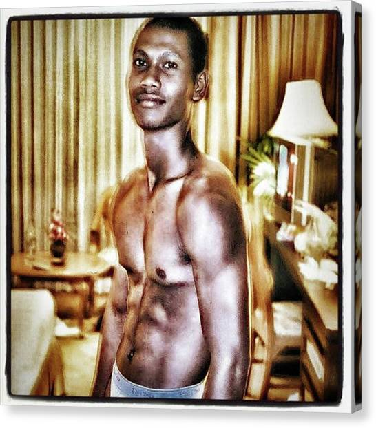 Canvas Print featuring the photograph Weerawat. We For Short. A Kickboxer And by Mr Photojimsf