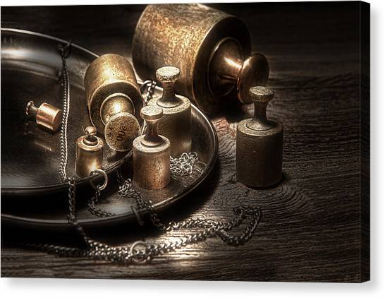 Weights Canvas Print - Weights And Measures by Tom Mc Nemar