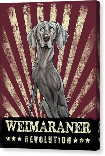 Weimaraners Canvas Print - Weimaraner Revolution by John LaFree