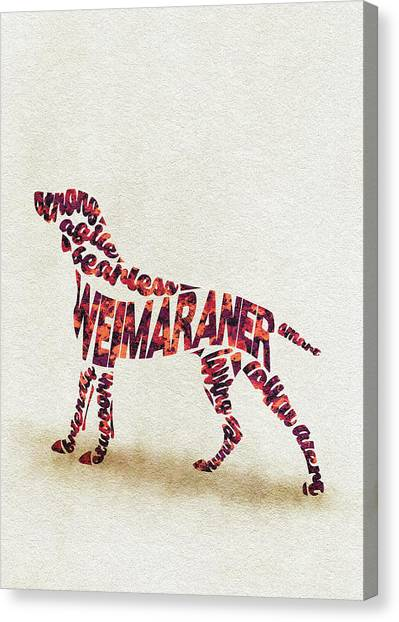 Weimaraners Canvas Print - Weimaraner Watercolor Painting / Typographic Art by Inspirowl Design