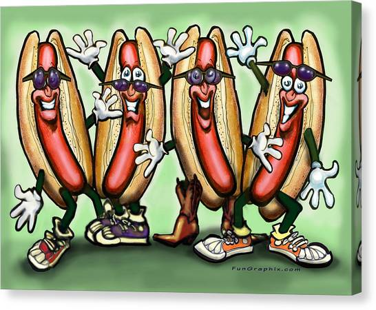 Cookout Canvas Print - Weiner Party by Kevin Middleton