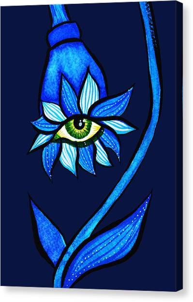 Weird Blue Staring Creepy Eye Flower Canvas Print