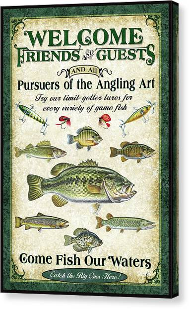 Angling Canvas Print - Welcome Friends Sign by JQ Licensing