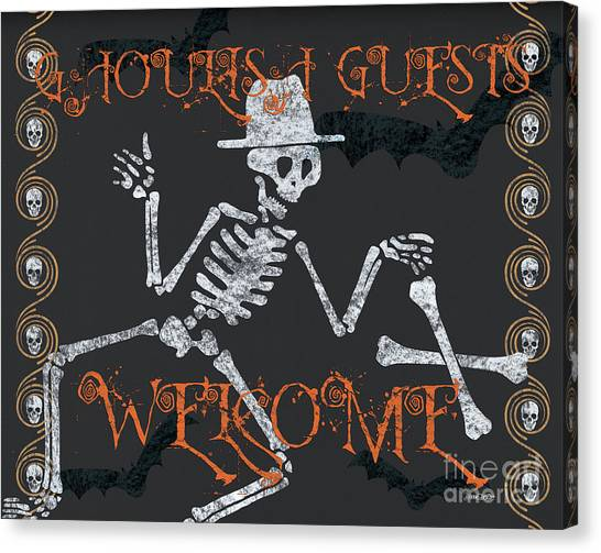 Horror Canvas Print - Welcome Ghoulish Guests by Debbie DeWitt