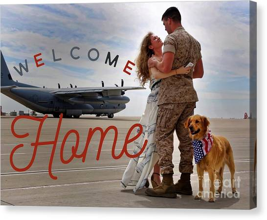 Canvas Print featuring the digital art Welcome Home by Kathy Tarochione