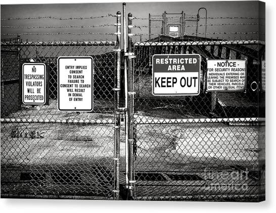 Chain Link Fence Canvas Print - Welcome by Olivier Le Queinec