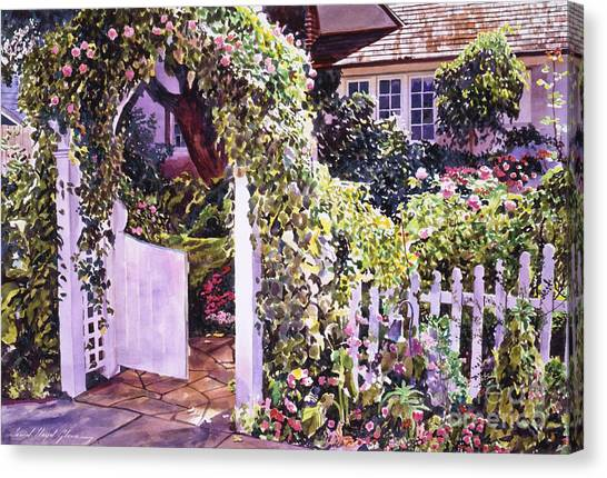 Arbor Canvas Print - Welcome Rose Covered Gate by David Lloyd Glover