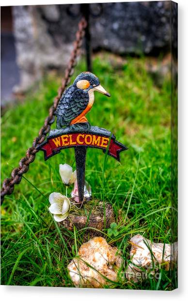 Kingfisher Canvas Print - Welcome Sign by Adrian Evans