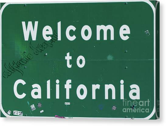 Street Signs Canvas Print - Welcome To California by Mindy Sommers