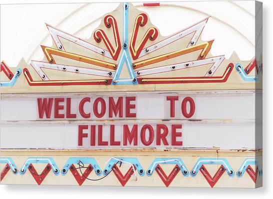 Neon Canvas Print - Welcome To Fillmore- Photography By Linda Woods by Linda Woods