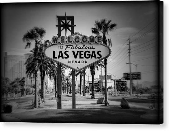 Welcome To Las Vegas Series Holga Black And White Canvas Print