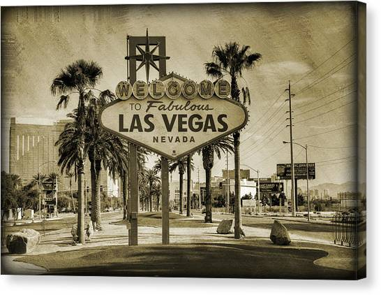 Gaming Canvas Print - Welcome To Las Vegas Series Sepia Grunge by Ricky Barnard