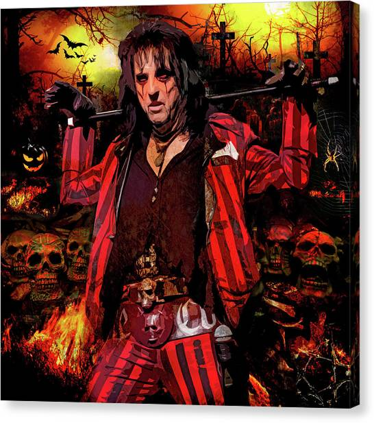 Alice Cooper Canvas Print - Welcome To My Nightmare by Mal Bray