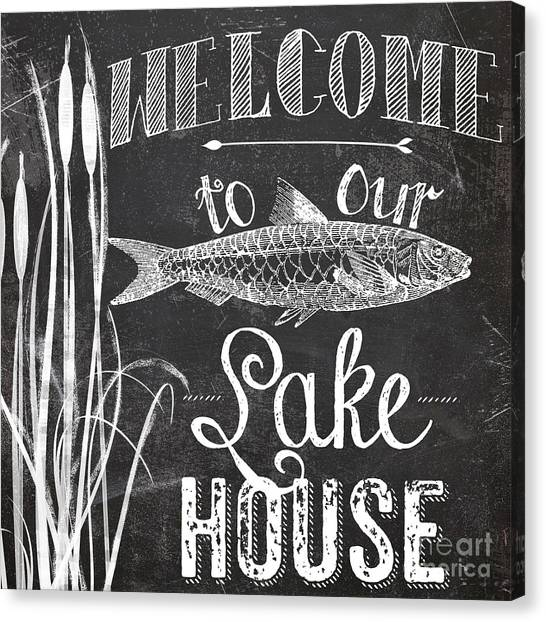 Rustic Canvas Print - Welcome To Our Lake House Sign by Mindy Sommers