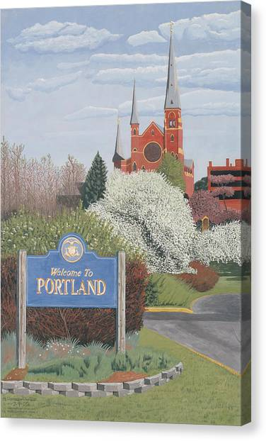 Canvas Print featuring the painting Welcome To Portland by Dominic White