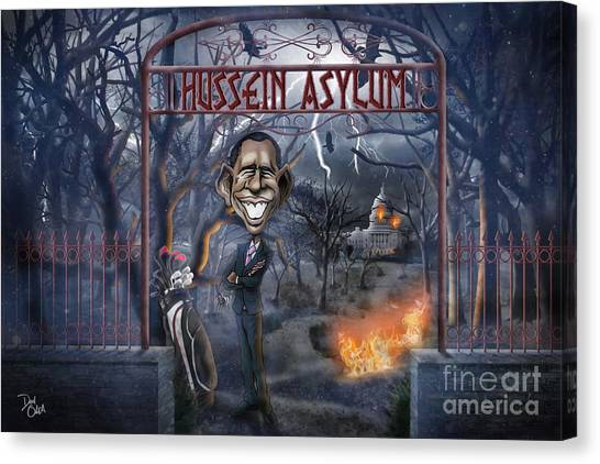 Illegal Aliens Canvas Print - Welcome To The Hussein Asylum by Don Olea