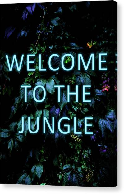 Neon Canvas Print - Welcome To The Jungle - Neon Typography by Nicklas Gustafsson