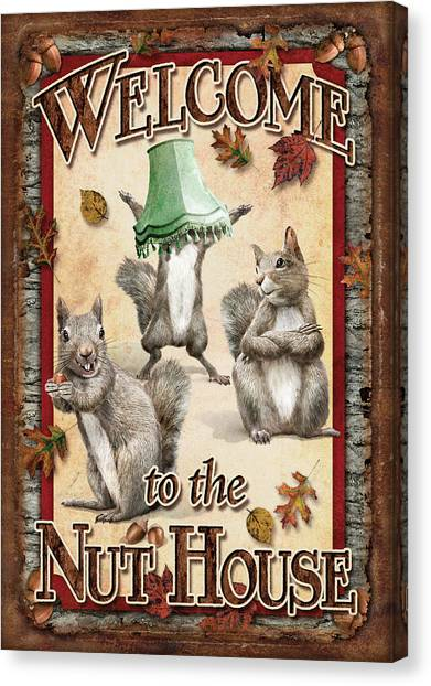 Squirrels Canvas Print - Welcome To The Nut House by JQ Licensing