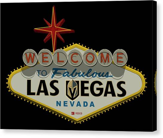 Vegas Golden Knights Canvas Print - Welcome To Vegas Knights Sign Digital Drawing by Ricky Barnard