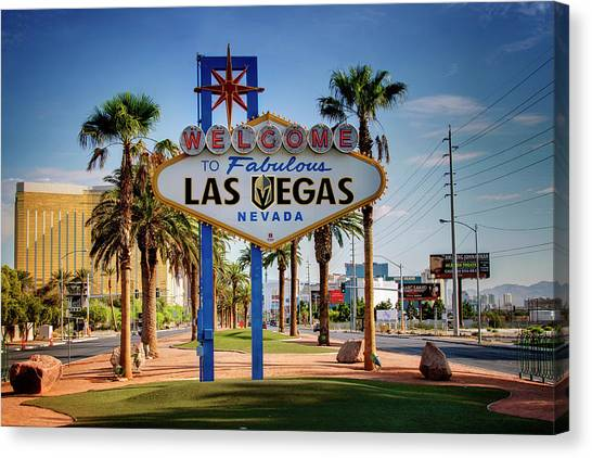 Vegas Golden Knights Canvas Print - Welcome To Vegas Knights Sign by Ricky Barnard