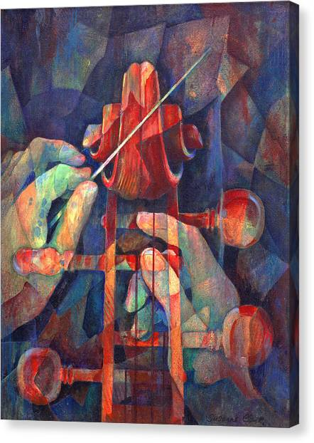 Cellos Canvas Print - Well Conducted - Painting Of Cello Head And Conductor's Hands by Susanne Clark