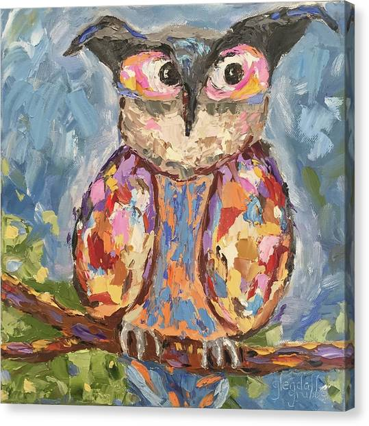Chi Omega Canvas Print - Well, Owl Be by Glenda Grubbs