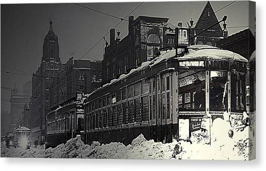Wells Street Trolley Canvas Print