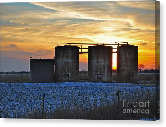 Wellsite Sunset Canvas Print