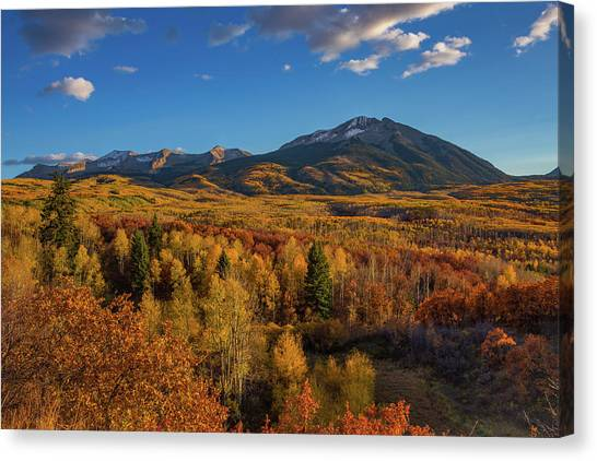 Mountain West Canvas Print - West Beckwith Mountains Shine In The Warm Autumn Light by Bridget Calip