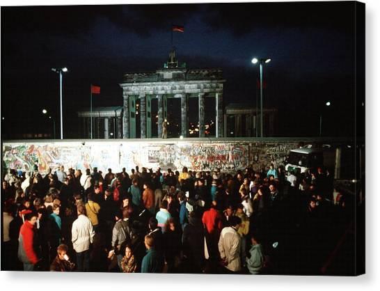 Berlin Wall Canvas Print - West Germans Hold A Vigil by Everett
