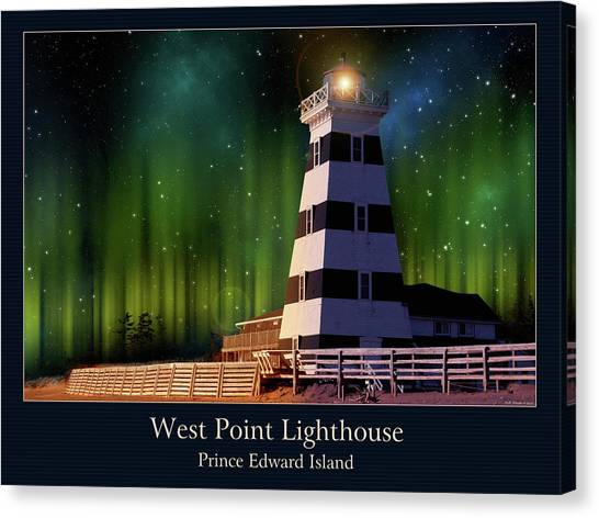 West Point Lighthouse Night Scene Canvas Print